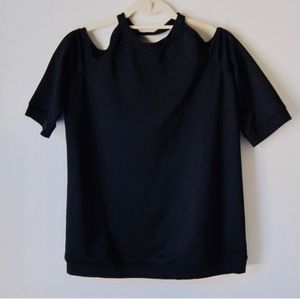 Leith Cut Out High Neck Tee Black